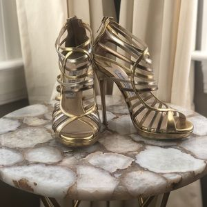 36 1/2 Gold Tone Jimmy Choo Shoes.